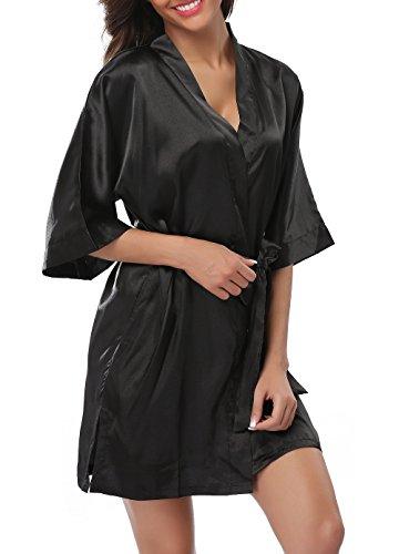FADSHOW Women s Plus Size Satin Robes Short Silk Bathrobes Wedding Nightwear  b089e2f4d