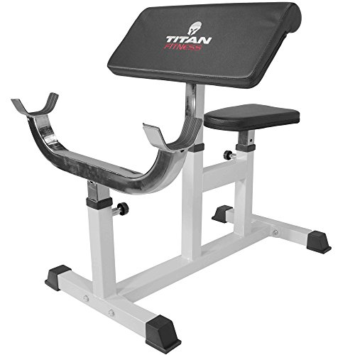 Titan Preacher Curl Station Seated Strength Training Bench Bicep Home Gym Fitness Equipment by Titan Fitness