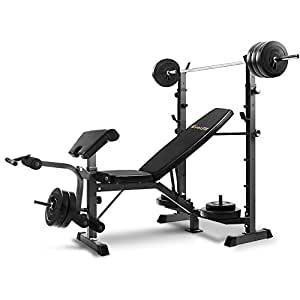 Everfit Muti-station Weight Bench Adjustable Fitness Exercise 300KG Capacity Home Gym Equipment Flat Incline Decline Bench Press Leg Curl Chest Flys Extensions Military Preacher Curls Arm AB Crunch