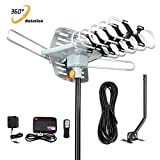 Outdoor TV Antenna 150 Miles Amplified Digital HDTV Antenna with 360°Rotation,Wireless Remote Control, 33 Feet Coax Cable with Mounting Pole -2019 Newest Version with 4K
