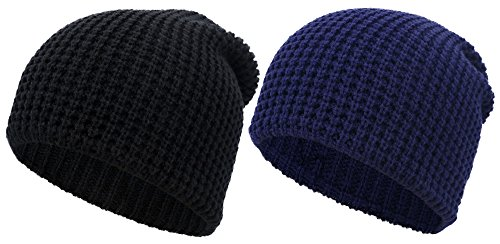 Simplicity Unisex Winter Hand Knit Slouchy Beanie Ski Cap 2 Pc Set Black/Navy -