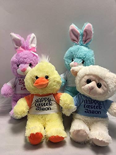Adorable Personalized   Large Easter Plush With T Shirt   Bunny   Duck   Lamb   Stuffed Toy