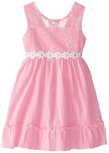 Sweet Heart Rose Little Girls' Crochet Bodice Gauze Sundress, Pink, 5