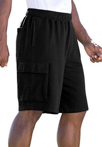 Kingsize Men's Big & Tall Fleece Cargo Shorts, Black Tall-4Xl
