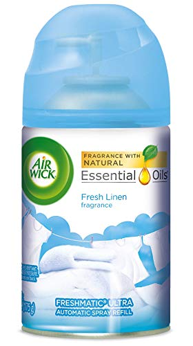 (Air Wick Pure Freshmatic Refill Automatic Spray, Fresh Linen, 1ct, New Look, Same familiar smell of Fresh Laundry, Essential Oil, Odor Neutralization, Packaging May Vary)