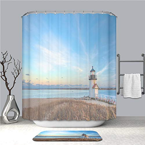 - BEICICI Shower Curtain and Bath mat Rug Brant Point Lighthouse Nantucket MA Custom Waterproof Polyester Fabric Shower Curtain Set