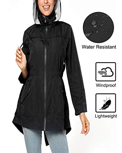 BELLEZIVA Womens Raincoat Waterproof Rain Jacket Elastic Waist Trench Coats Hooded Outfits Outdoor Coat for Camping Climbing