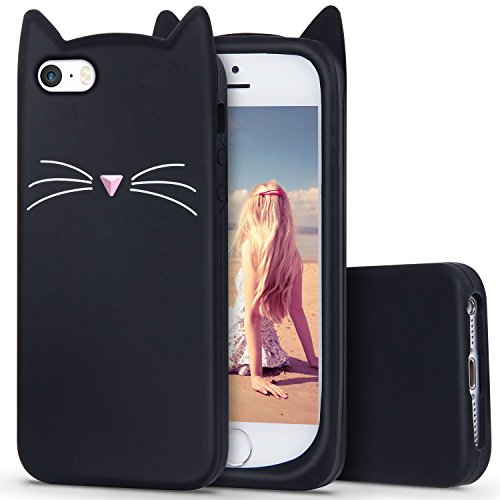 iPhone SE Case, MC Fashion Cute 3D Black Meow Party Cat Ears Kitty Whiskers Soft Silicone Case for iPhone 5/5S/SE (Cat Whiskers)]()