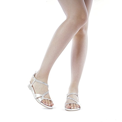 DREAM PAIRS Women's Formosa_1 Silver Low Platform Wedges Slingback Sandals Size 9 B(M) US by DREAM PAIRS (Image #6)