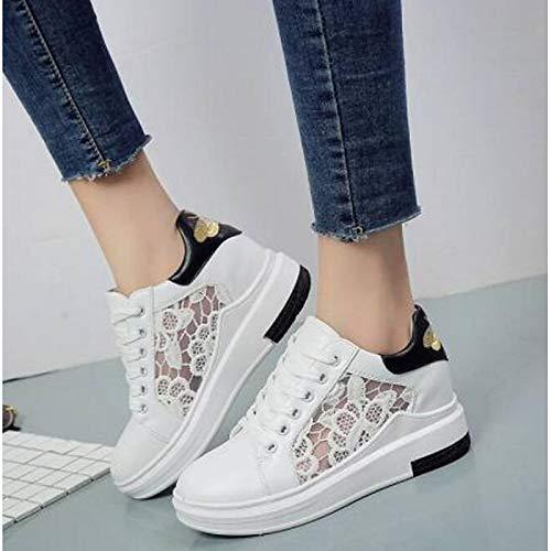 Tacco da Nero Bianco Primavera poliuretano Scarpe Estate PU Sneakers donna piatto Comfort Punta chiusa White ZHZNVX 4qazx5R