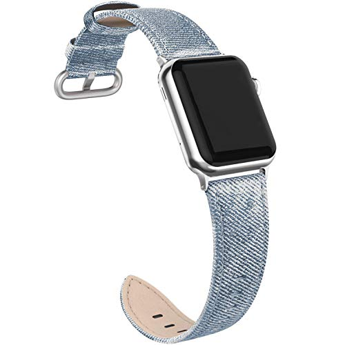 (SWEES Leather Band Compatible for Apple Watch 38mm 40mm Women, Genuine Leather Dressy Elegant Replacement Strap Compatible with iWatch Apple Watch Series 4, 3, 2, 1, Sports Edition Women, Denim Blue)