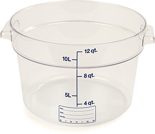 Carlisle 1076707 StorPlus Polycarbonate Round Container, 12 Quart Capacity, Clear (Case of 6)