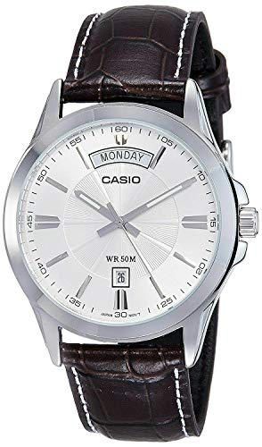 (Casio MTP1381L-7AV Men's Classic Leather Band 50M Day Date Silver Dial Watch)