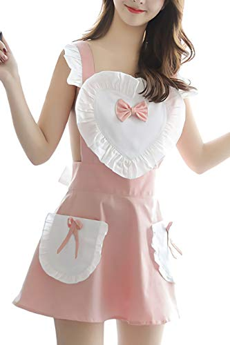 Mflying Women's Sexy Girl Cosplay Maid Lingerie Apron Set (Pink/Heart)