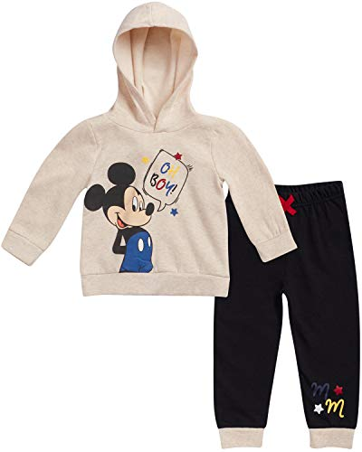 Disney Baby Boys Mickey Mouse Hoodie and Pant Set (Newborn and Infant), Cream-Black Mickey, Size 24M (Knit Baby Mickey Outfits)