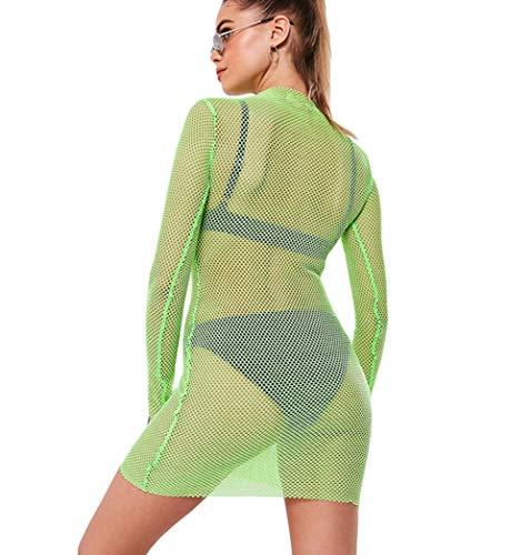 Young U Women's Sheer See Through T-Shirt Sexy Black Mesh Tee Beach Wear Cover Up Top (#2 Light Green, S)