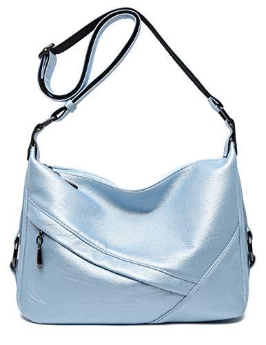 (Women's Retro Sling Shoulder Bag from Covelin, Leather Crossbody Tote Handbag Light Blue)