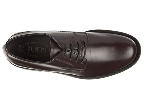 Tods Hombres Classic Leather Lace Up Zapatos Formales Con Cordones Derby Rubber Light Bordea