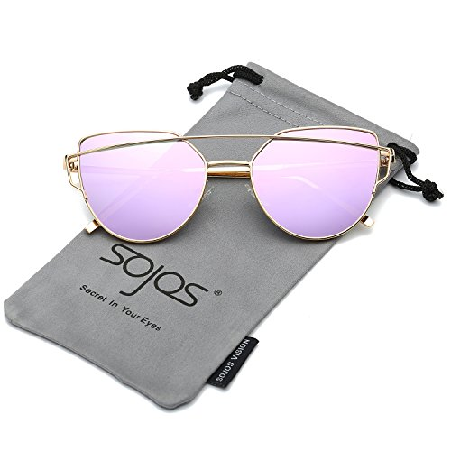 SojoS Cat Eye Mirrored Flat Lenses Street Fashion Metal Frame Women Sunglasses SJ1001 With Gold Frame/Purple Mirrored - Purple Metal Glasses Frame