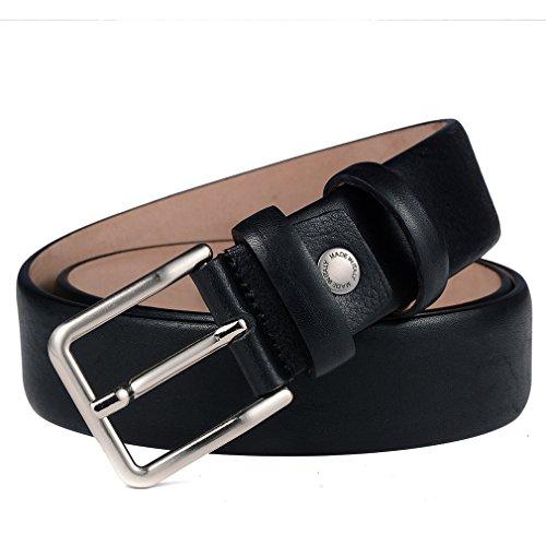 Designer Leather Belt (Men Dress Belt - Mens Genuine Leather Stitch Belts Uniform Designer Black 34)