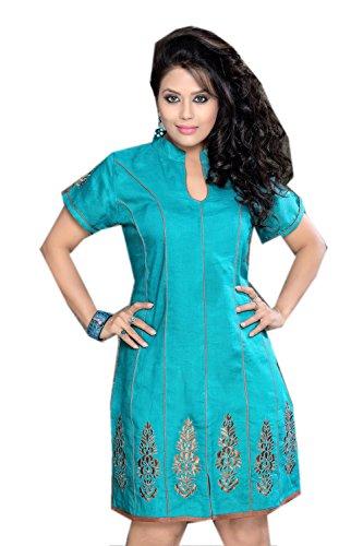 jayayamala Belle Couleur Bleu Soie Coton Tunique Top brodé