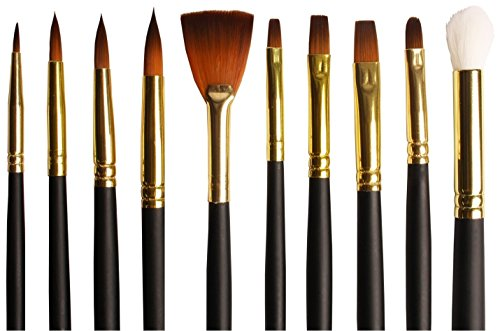 Mixed Flower Easel (Artist's Brush Set of 10 Bespoke Gold Taklon Assorted Watercolor Paint Brushes - Premium Value Soft Bristles in a Stylish Zip Carry Case.)