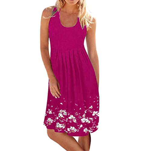 KASAAS Dresses for Women Sexy Floral Print Scoop Neck Sleeveless Vintage Fashion Casual Beach Swing Mini Dress(X-Large,Hot Pink)