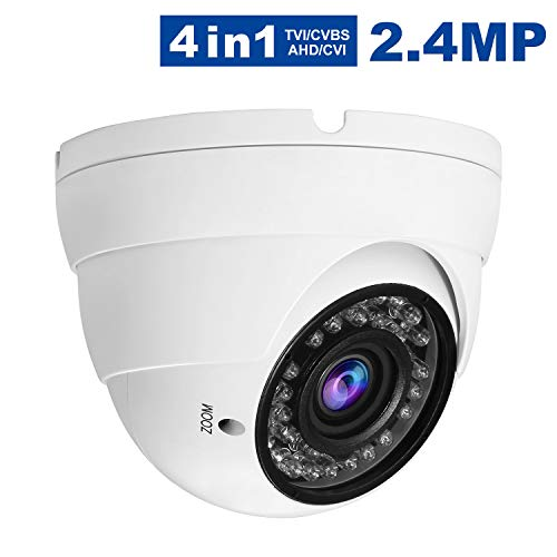 Anpvees 2.4MP CCTV HD Security Analog Dome Camera,1080P 4-in-1 (TVI/AHD/CVI/CVBS) 2.8-12mm Varifocal Wide Viewing Angle CCTV Dome Security Camera, Weatherproof Indoor/Outdoor Camera for Home Video (Best Resolution Cctv Camera)