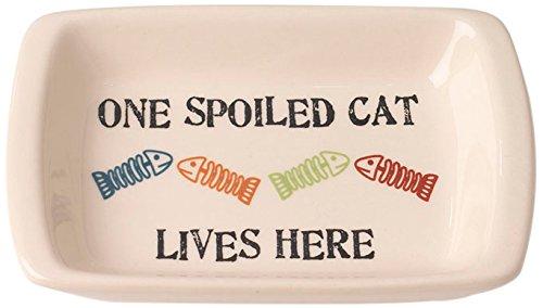 PetRageous One Spoiled Cat Rectangular Saucer Bowl, 5