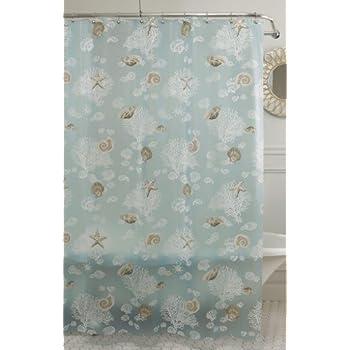 Lorraine Home Fashions Sea Foam Shells Shower Curtain 70 Inch By 72