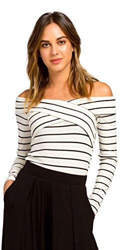 Ribbed Striped Knit Off Shoulder Long Sleeve Crop Top with Crossover T17032 (Small)