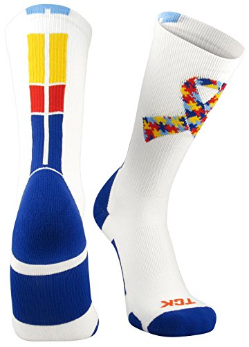439a71cfa8cd TCK Sports Autism Awareness Puzzle Ribbon Crew Socks - Buy From Tommy