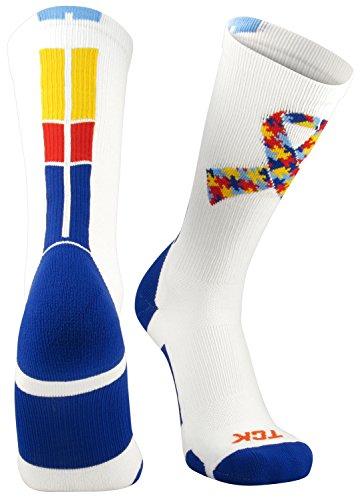 TCK Sports Autism Awareness Puzzle Ribbon Crew Socks, Large by TCK