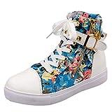 Boomboom Women Shoes, Women Soft High-Top Zip Sneakers Shoes Flat Canvas Shoes Blue US 7.5
