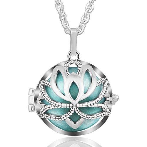 Circular Shaped Pendant - EUDORA Harmony Ball Necklace Nelumbo Nucifera Long Necklaces for Women Pregnancy Gift 30