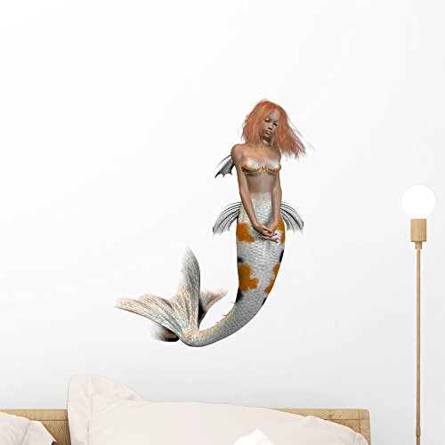 Wallmonkeys Koi Pattern Mermaid Wall Decal Peel and Stick Decals for Girls (18 in H x 14 in W) WM491926]()