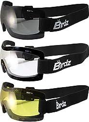 Birdz 3 Pairs Wren Frameless Sky Diving Riding Goggles Anti Fog Clear Smoke Yellow Lens