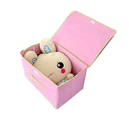 niceEshop(TM) Fabric Cloth Lace Art Storage/Organizer Box/Glove Compartment/Clothes Box With Wooden Button Style(Large+Small)-Pink