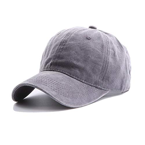 Eohak Kids Distresed-Washed Baseball Hat, Infant Toddler Baby Boy Cotton Hats Distresed for 4-12 Years (Light Grey, 4-12yr/19 7