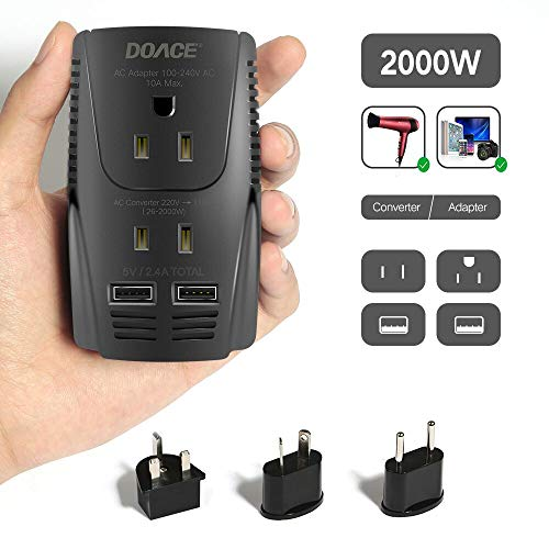 2019 Upgraded DOACE C11 2000W Travel Voltage Converter for Hair Dryer Straightener, Flat Iron, Set Down 220V to 110V, 10A Power Adapter with 2-port USB, EU/UK/AU/US Plug for Laptop, Camera, Cell Phone ()