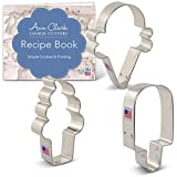 Ice Cream Cookie Cutter Set with Recipe Booklet - 3 piece - Popsicle, Hard and Soft Ice Cream Cone Cookie Cutters - Ann Clark - USA Made Steel