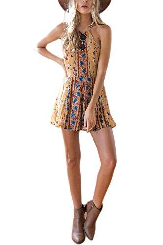 La Mujer Es Elegante Gargantilla Floral Print Swing Vestido De Fiesta Yellow