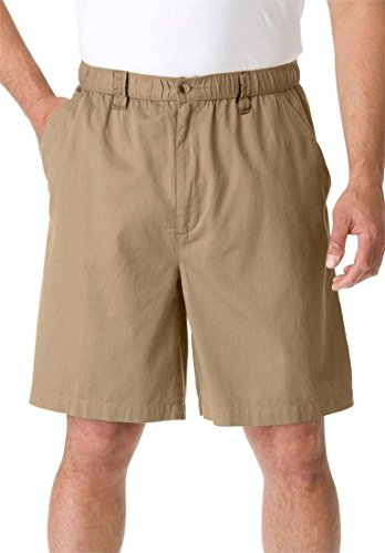 KingSize Men's Big & Tall Knockarounds 834 Full Elastic Plain Front Shorts, Beige Denim Shorts