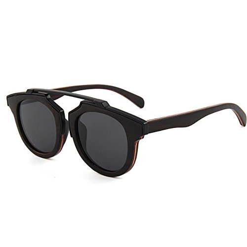 Metal de Gafas Decoración Tonos de Gafas Playa Color Hecha Mano Sol de Madera de a Ojos Marrón Sol polarizadas UV de Gafas de Proteccion Moda de protección Godbb Madera Sol Negro de nXvxpPP