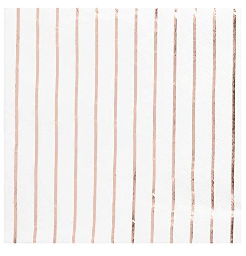 (Rose Gold Napkins - 50-Pack Disposable Luncheon Napkins, Rose Gold Foil Stripes, 3-Ply Paper Napkins, Cocktail, Bridal Shower, Birthday, Wedding Party Supplies, Folded 6.5 x 6.5 Inches)