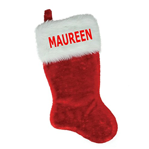 NAME (MAUREEN) EMBROIDERED 18'' X 8.5 C'' Traditional Red and White Plush Christmas Stocking PERSONALIZED by Christmas STOCKING