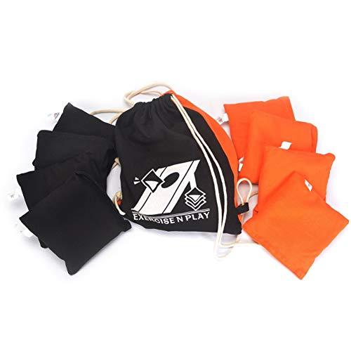 Cornhole Bag Set - EXERCISE N PLAY Premium Weather Resistant Official Size ACA Regulation Duck Cloth Cornhole Bags(Set of 8) for Cornhole Bean Bags Toss Game,Black & Orange,Includes Shoulder Bag
