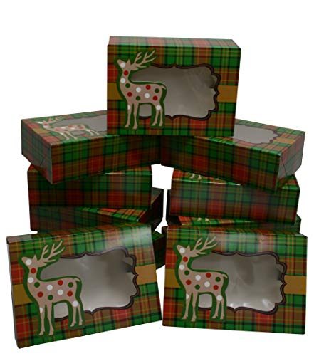 (Christmas Cookie Gift Boxes with Window, Green and Red Plaid, 8 Inch Rectangle, for Gift Giving On Holiday and Party Favors (Set of)