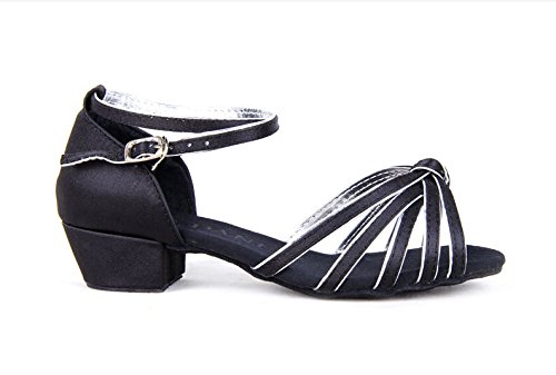 Girls Satin Striped Knot Latin Ballroom Dance Shoes Two-tone Soft Suede Sole Dancing Sandals(2, Black/silver) by staychicfashion (Image #2)