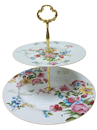 - KingDao 2 tier Ceramic Cake Plate Stand Porcelain Plates Cupcake Stand Fruite Dessert Tray Stand Tea Party Pastry Serving Platter Food Display Stands Home Party Decor (With gold stand)